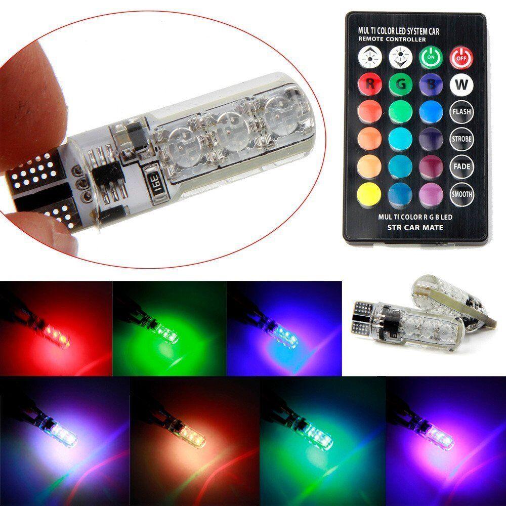 2X T10 5050 W5W 6 SMD Remote Control RGB LED Car Dome Reading Lights Lamp Bulb