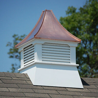 New Cupola Vinyl - Accentua Olympia Vinyl Cupola with Copper Roof, 24 in. Square, 38 in. High