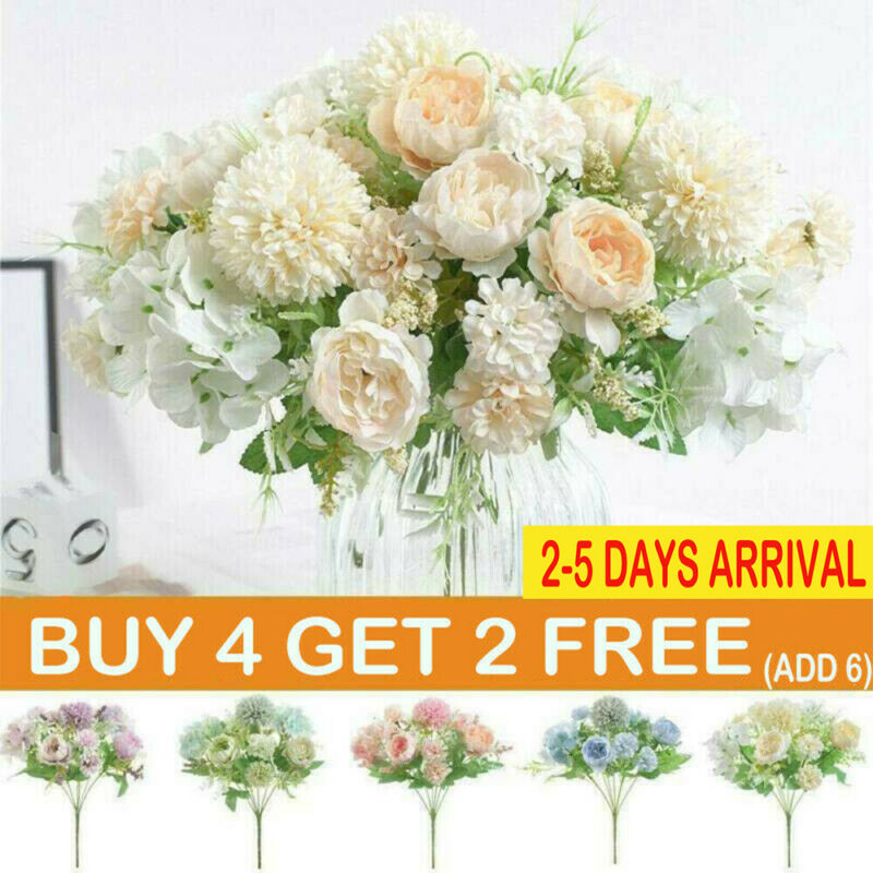 Home Decoration - Artificial Silk Peony Fake Flowers Bunch Bouquet Home Wedding Party Garden Decor