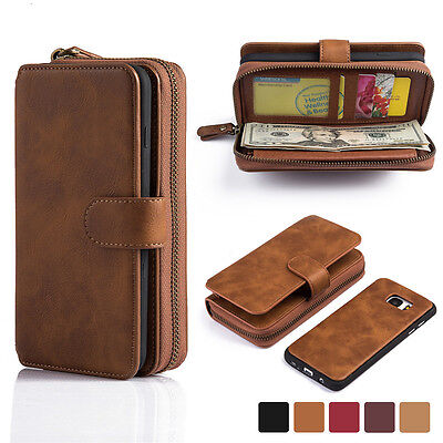 Leather Case Cover Zipper Wallet Flip Card For Samsung Galaxy S7 Edge Brown