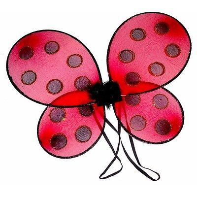 Marienkäfer Flügel ein Süß Rot Glitzer Kostüm für Kinder und Mädchen (Flügel Für Ein Kostüm)
