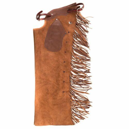Western Top  Grain Leather Shot Gun Chap /Matching Fringes 8927