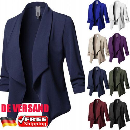 DE Damen Slim Cardigan Casual Business Strickjacke Blazer Mantel Jacke  Outwear b9eaee5264