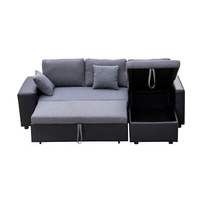 Reversible Sleeper Sectional Sofa Couch w/ Storage 2 Stools For Living Room US