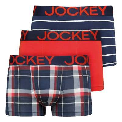 Jockey Jockey Short Trunk 3 Pack In Red Striped /& Check