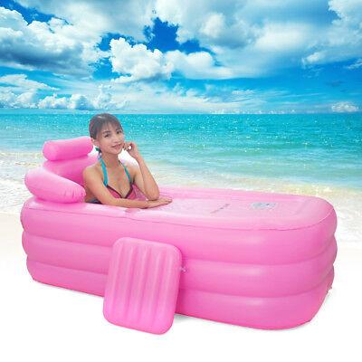 160cm Blow Up Adult PVC Portable Spa Warm Bathtub Inflatable Bath Tub Kit PINK - Blow Up Tub