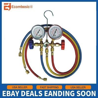 New Manifold Gauge Set Ac Ac 5ft Color Hose Air Conditioner Hvac 60 R410a R22