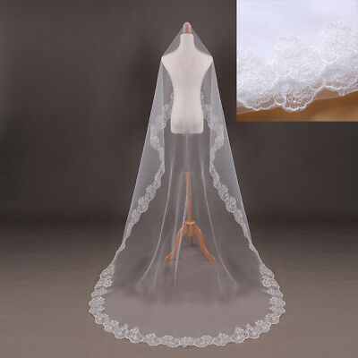 3M Cathedral Length Lace Edge Bride Wedding Bridal Veil Long Trails White HOT Edge Cathedral Length Veil
