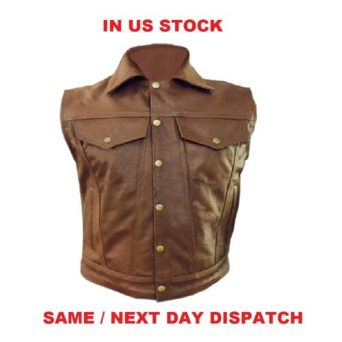 MEN BIKER STYLE VEST REAL COW LEATHER BROWN MOTORCYCLE WAISTCOAT
