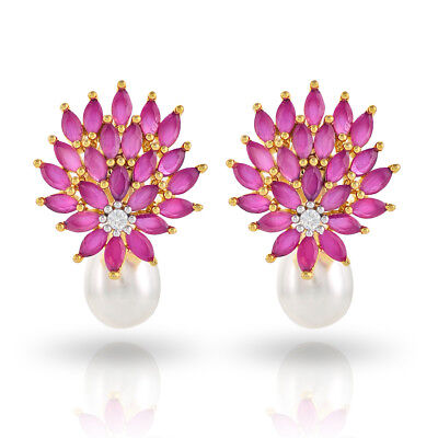 Emerald Drop Ruby - Cubic Zirconia Emerald Ruby Pearl Stud Earrings Collection