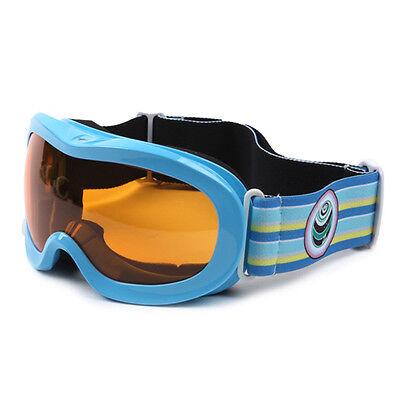 Kids Goggles Ski Snowboard Anti Fog Lens Junior Children OTG With Glasses Blue