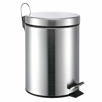 5 Liter/1.3 Gallon Small Round Stainless Steel Step Trash Can (SilverII)