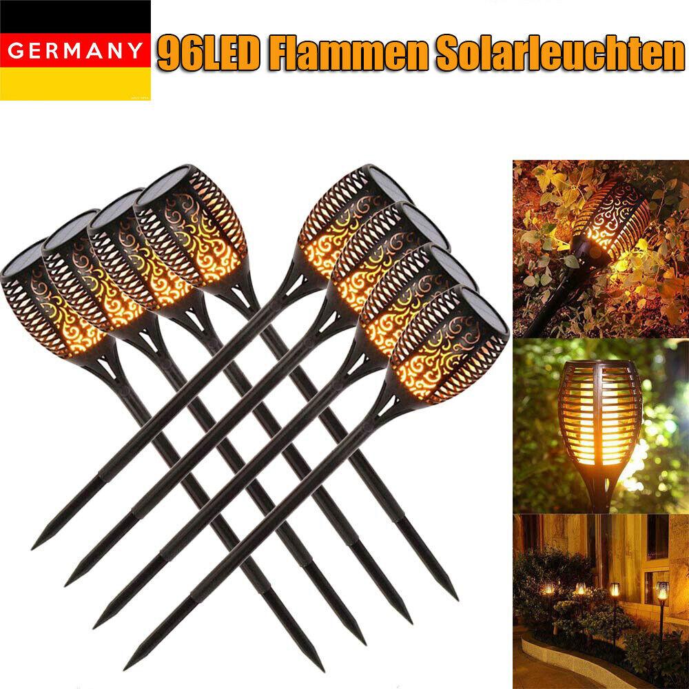 51 LEDs Flamme Lampe Solarleuchte Fackeln Solarstrahler Garten Dekoration Licht