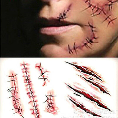 2Pcs Halloween Tattoo Sticker Cool Temporary Horror Wound Scar Gore Blood Decor