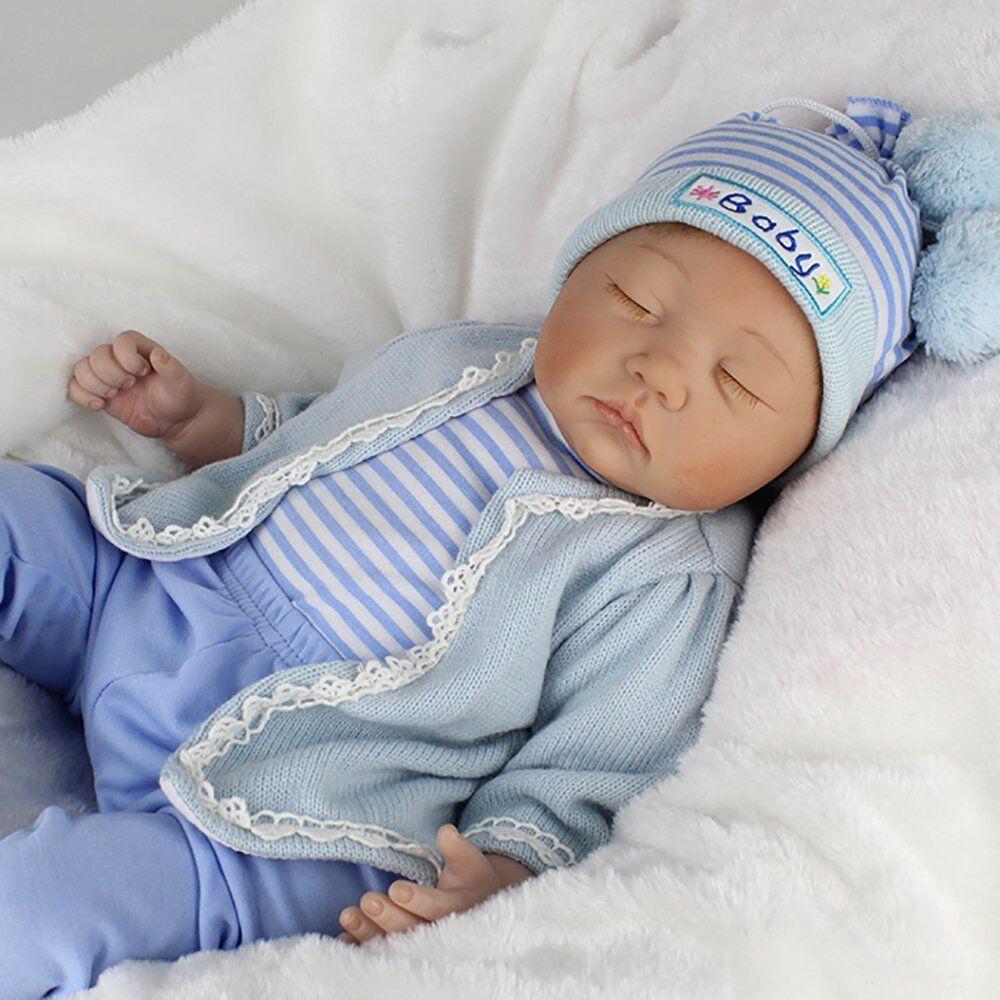Reborn Newborn Dolls 22/'/' Handmade Vinyl Silicone Baby Boy Doll Toy Gift+Clothes