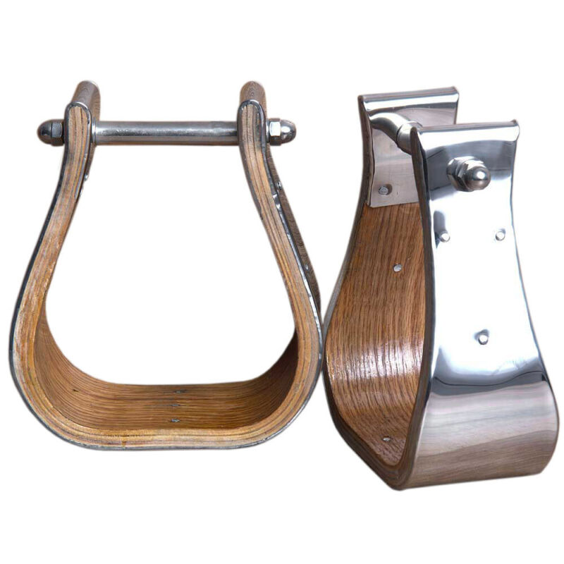 Horse Western Saddle Stainless Steel Bounded Wooden Stirrups Wide Roping U-03-3