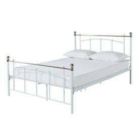 Yani Kingsize metal bed frame -White