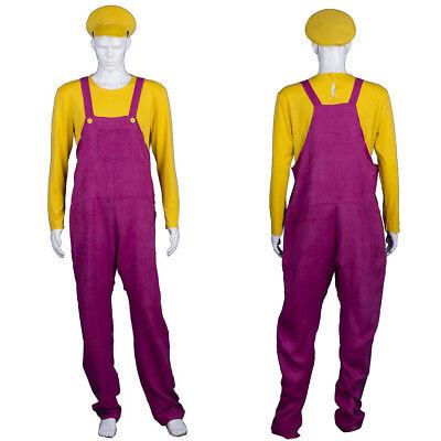 Yellow Adult Men Overalls Hat Bad Plumber Cosplay Halloween Party Costume - Halloween Costumes Overalls