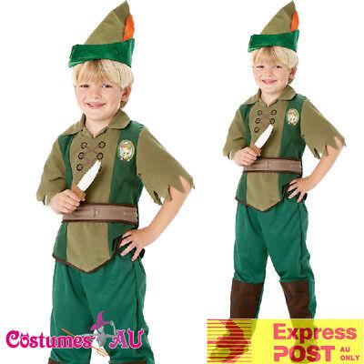 Kids Deluxe Peter Pan Costume Boys Girls Neverland Robin Hood Fancy Book Week (Peter Pan Costume For Girls)