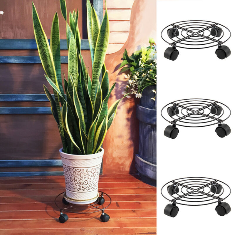2 Wooden Heavy Plant Pot Locking Wheels Mover Garden Planter Caddy Trolley Stand For Sale Ebay