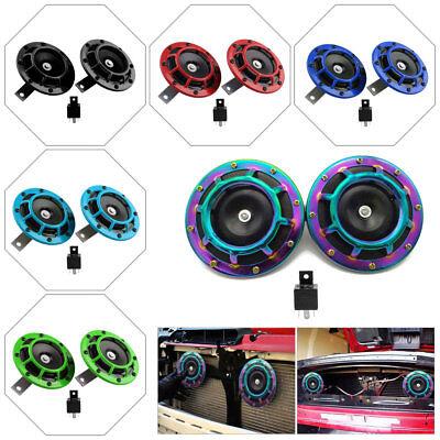 2pc Car Truck SUV Super-Loud Disk Compact Electric Blast Tone Hella Horn & Relay