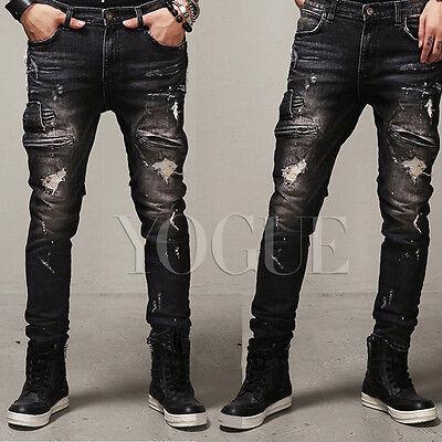 Men's Distressed Ripped Jeans Moto Black Denim Pants Slim Fit Skinny Trousers