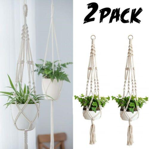2 Pack Plant Hanger Flower Pot Plant Holder Large 4 Legs Macrame Jute 41 Inch US Home & Garden
