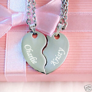 Split heart necklace ebay personalised engraved split heart pendant with necklace valentines day gift aloadofball Gallery