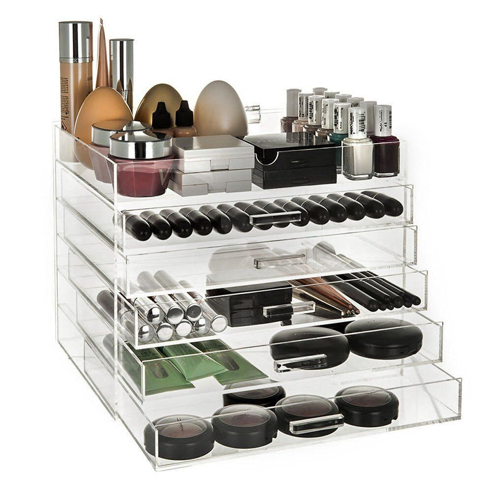 CLEAR ACRYLIC 6 TIER COSMETIC MAKEUP ORGANISER BOX CASE DRAWERS WITH LID  sc 1 st  eBay & CLEAR ACRYLIC 6 TIER COSMETIC MAKEUP ORGANISER BOX CASE DRAWERS ... Aboutintivar.Com