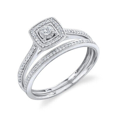 14K Oro Blanco Diamante Boda Anillo Cuadrado Halo Compromiso Miligrano
