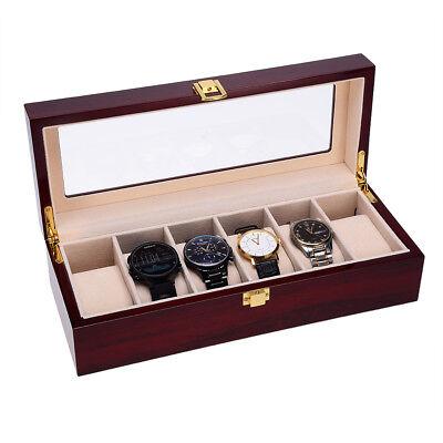 Uhrenkoffer Uhrenbox 6 Uhren Schaukasten Uhrenkasten Uhrentruhe Wood Sichtfenste