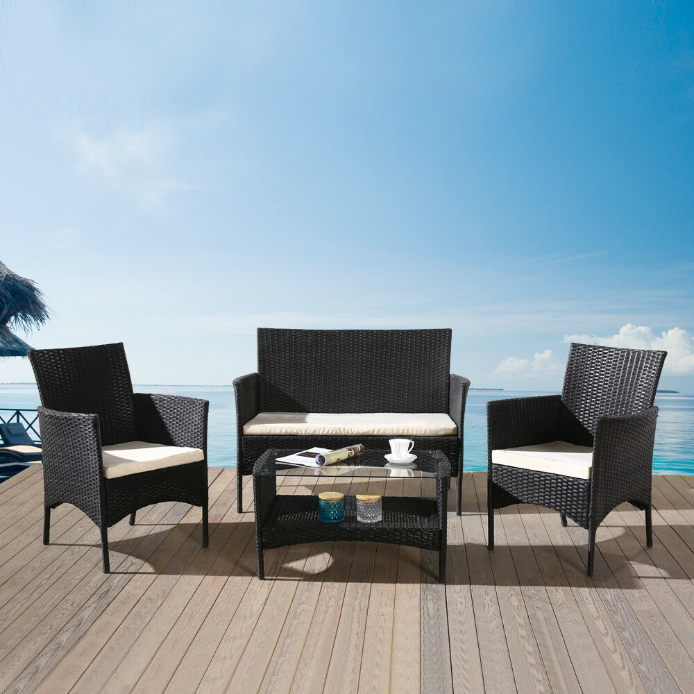 Image Rattan 3 Chairs and Table Garden Furniture Set Patio Conservatory Indoor Outdoor