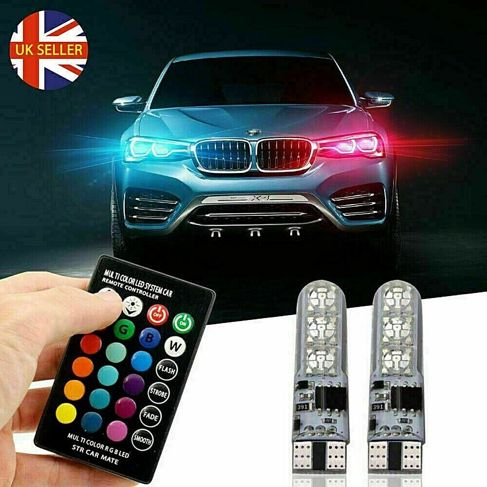 Car Parts - 2pcs LED T10 W5W 5050 RGB Color Changing Remote Car Wedge Side Light Bulbs 2020