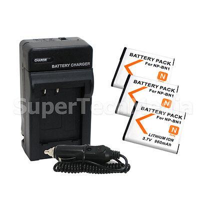 3 Battery + Charger For Sony NP-BN1 DSC-W610 DSC-W570 DSC-W560 DSC-W530 DSC-W510