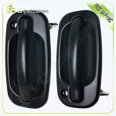 Outside Front Black Door Handle Left & Right Side Pair Set for 99-06 Chevy GMC 99 Chevy Suburban Outside Door