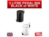 3 litre Pedal Bin Steel Kitchen Bathroom Toilet Waste Bin Rubbish WHITE BLACK