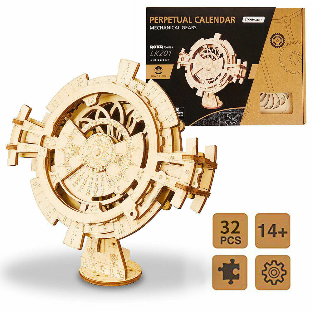Details About Robotime Diy Model Building Kits Wooden Perpetual Calendar Assembly Toy For Kids