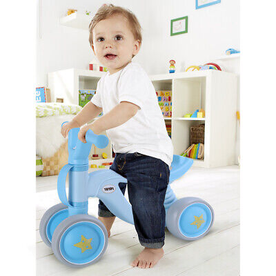 Baby Balance Bikes Bicycle 4 Wheel No Pedal Durable Kids Infant First Bike Blue