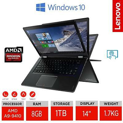 """LENOVO YOGA 510 14"""" 2 in 1 IPS Touch Laptop AMD A9-9410 Ram 8GB/1TB HDD W10 UK"""