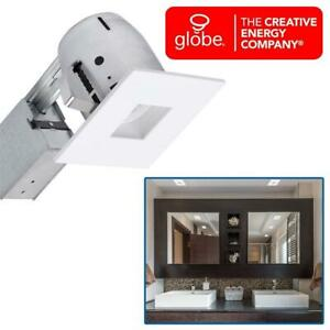 NEW Globe Electric 4 Die-Cast Regressed Swivel Spotlight Recessed Lighting Kit, Dimmable Downlight, White Finish, Sq...