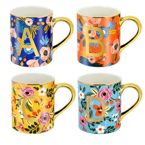 4Pcs 12oz Coffee Cups Mugs Floral Mugs for Coffee Tea Cocoa