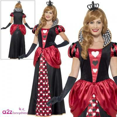 Ladies Red Queen Of Hearts Costume Adult Royal Fairytale Book Day Fancy Dress