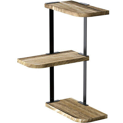 New Corner Shelf Wall Mount of 3 Tier Rustic Wood Floating (Custom Wall Shelf)