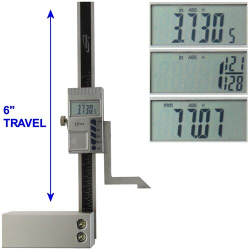 "Height Gauge 6"" Digital Electronic Scale Magnetic Base 1/128"" iGaging"