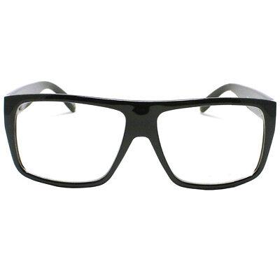 Large Nerdy Frame Clear Lens Eye Glasses Frame Skrillex Style Flat Costume (Nerdy Black Glasses)