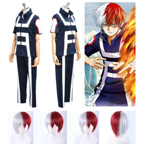 My Hero Academia Shoto Todoroki Cosplay Costume Sport Gym Uniform +Red White Wig