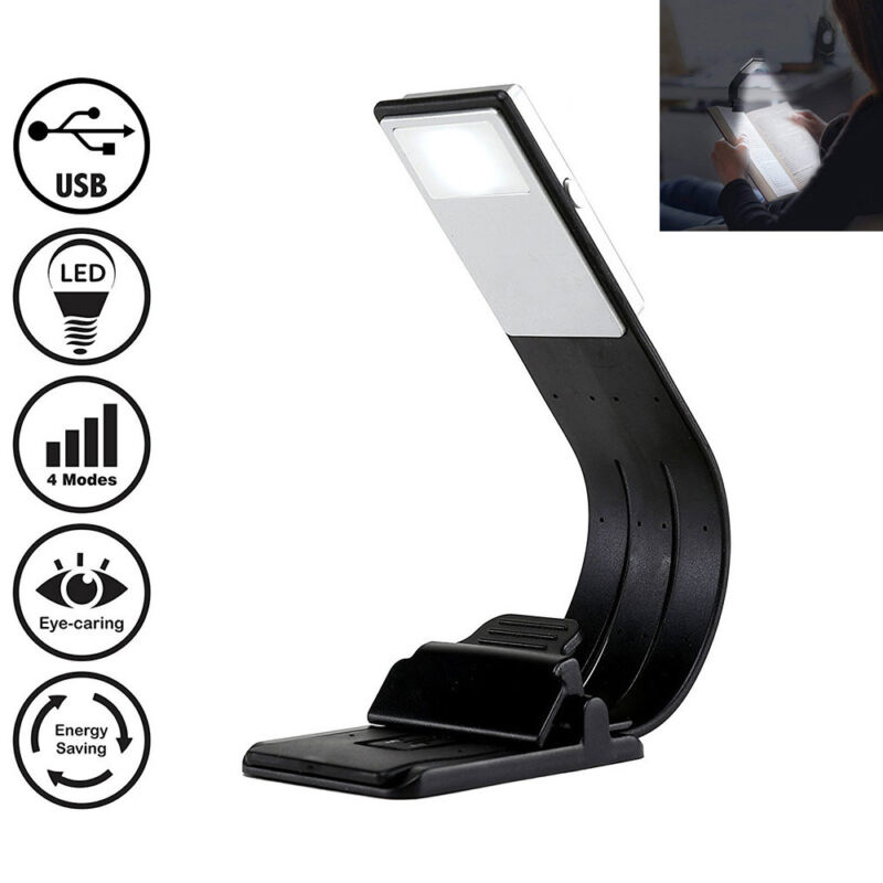 Magnetic LED Book Light Flexible Clip USB Rechargeable Lamp for Night Reading US