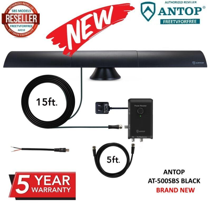 NEW-HDTV📻 FM 📶 Antenna 💡 SMART BAR Amplified 80 Mile ANTOP AT-500SBS Blk