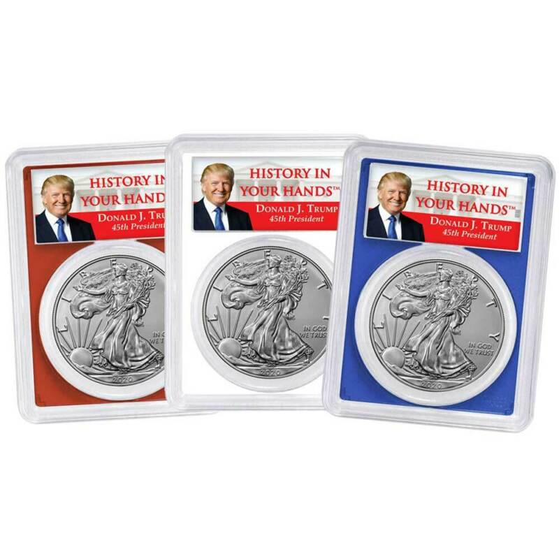 2020 $1 American Silver Eagle 3pc. Set PCGS MS70 FS Trump Label Red White Blue