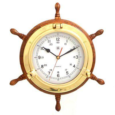 Bey-Berk International 13.5 in. Brass/Oak Ships Wheel, Clock - Tarnish Proof, Bey Berk International Brass